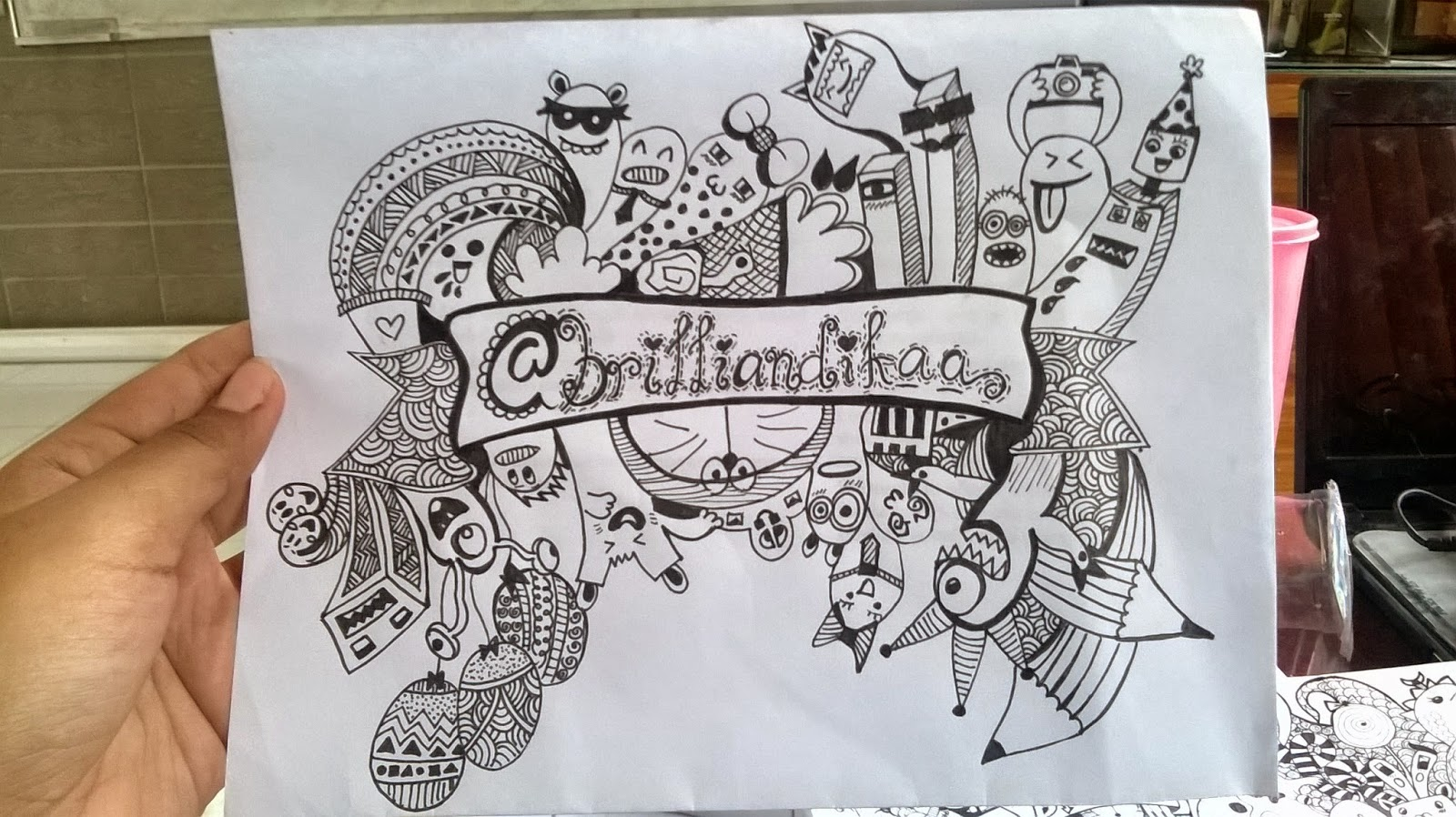 Contoh Gambar Doodle Nama Sederhana Kantor Meme