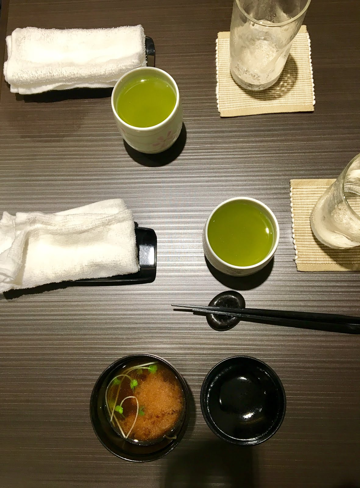 Green tea and miso soup, yes please!