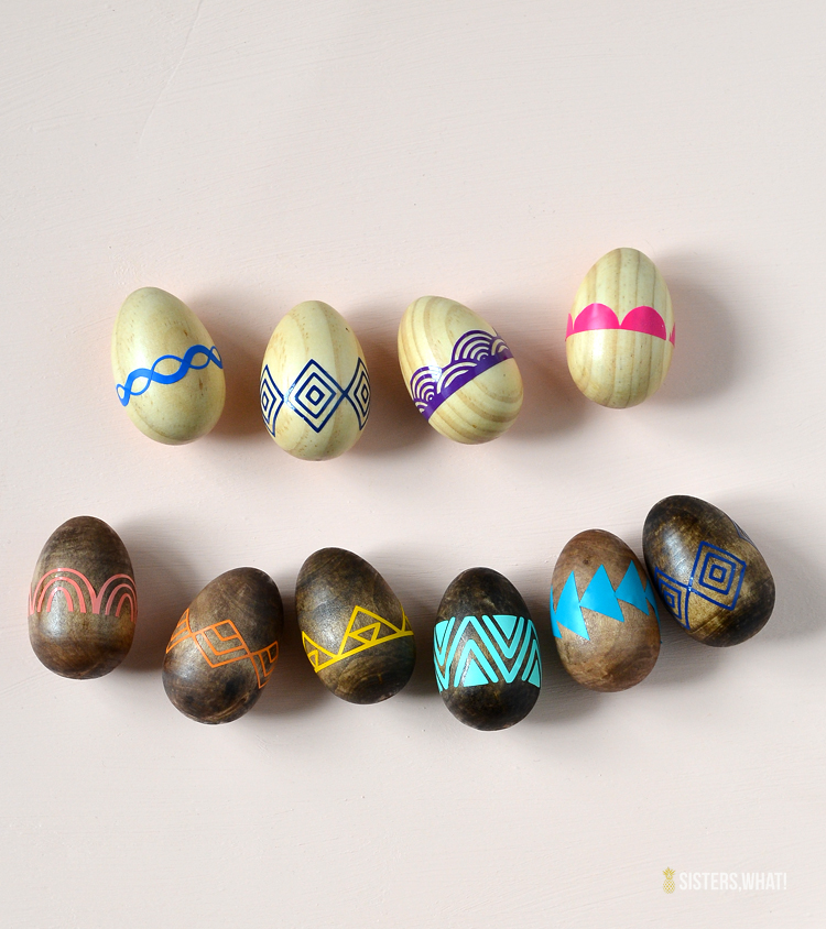 Patterned Vinyl Easter Wood Eggs