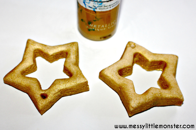 Making and painting a salt dough star photo frame ornament