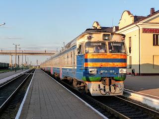 Лунинец. Железнодорожная станция. Пригородный поезд Лунинец-Брест