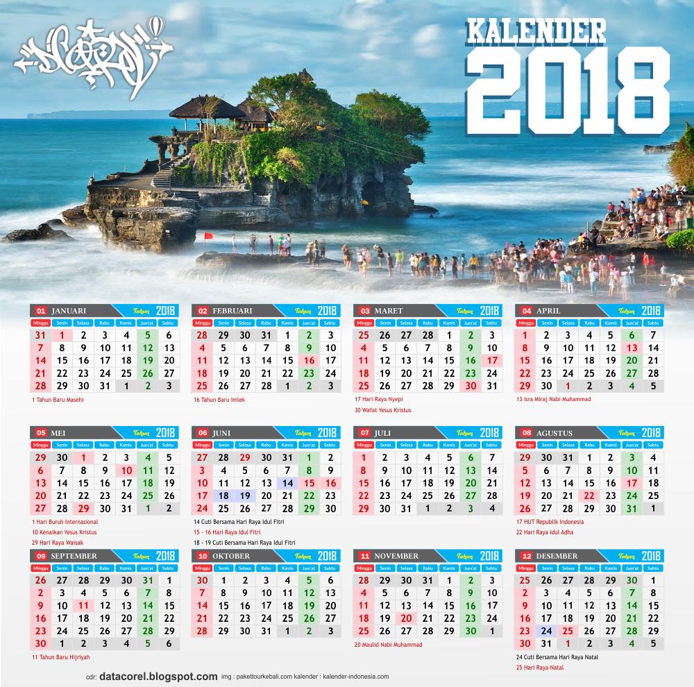 Bali kalender 2018 indonesia cdr file corel draw design for Kalender design