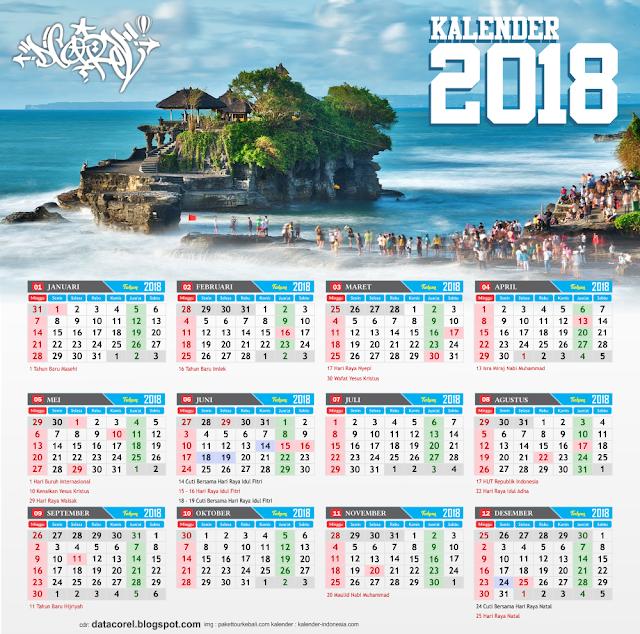 Bali Kalender 2018 Indonesia CDR File Corel Draw | Design ...