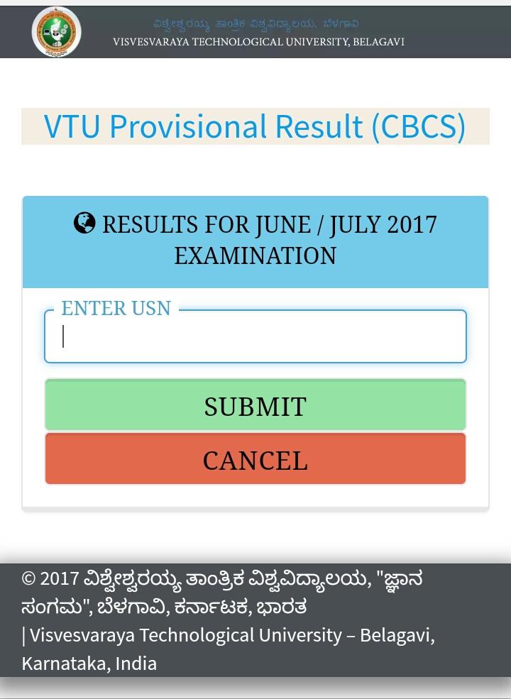 VTU CBCS RESULTS June /July 2018  - Welcome to VTU