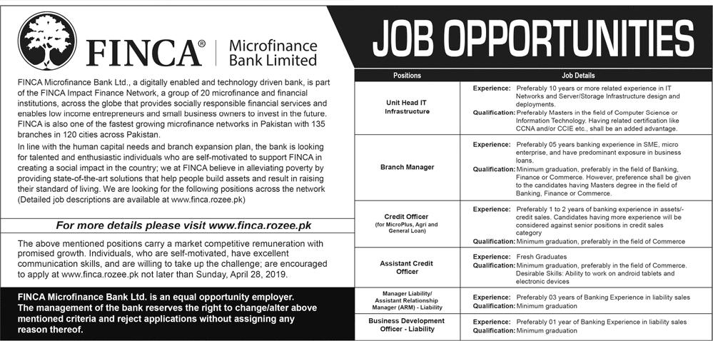 FINCA Microfinance Bank Jobs 2019 Latest New Vacancies