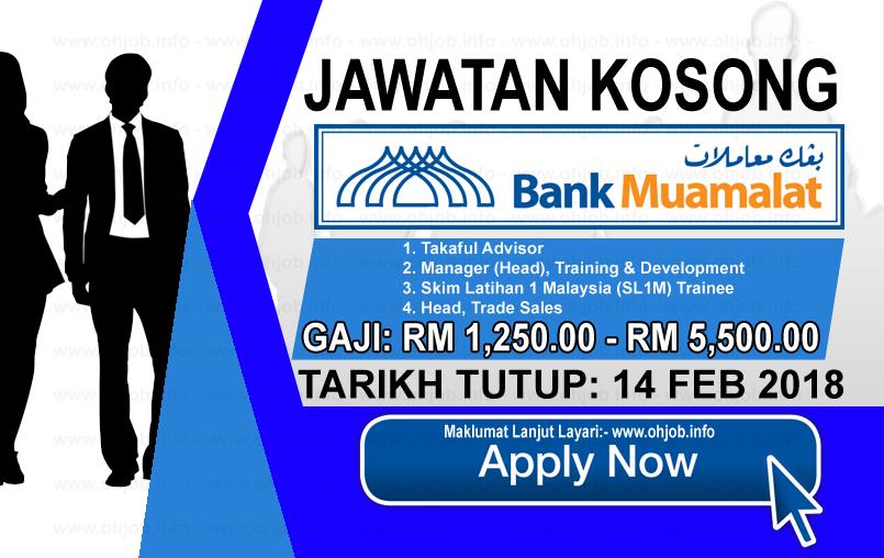 Jawatan Kerja Kosong Bank Muamalat Malaysia logo www.ohjob.info februari 2018
