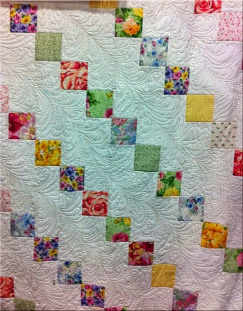 Diagonal Feather Machine Quilting by Sally Terry Professional Machine Quilter and Educator