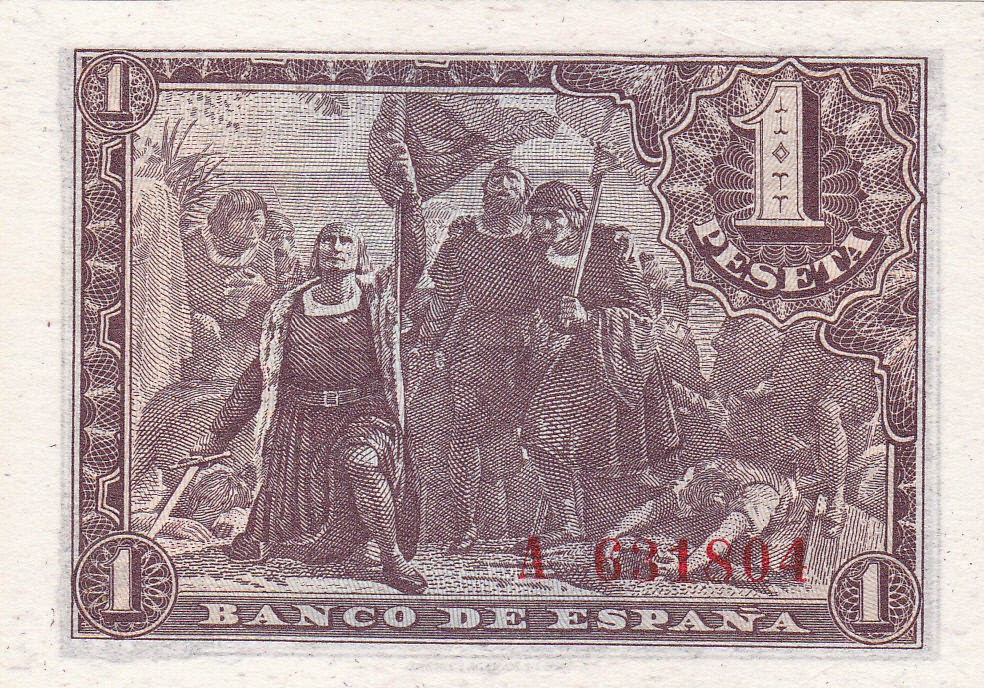 Spanish Peseta 1943  The First Landing of Columbus on the Shores of the New World 1492