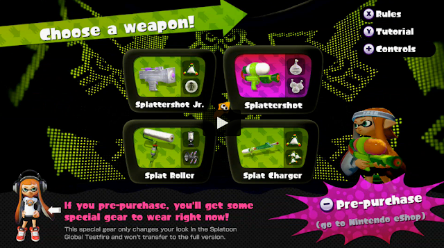 Splatoon Global Testfire choose a weapon screenshot