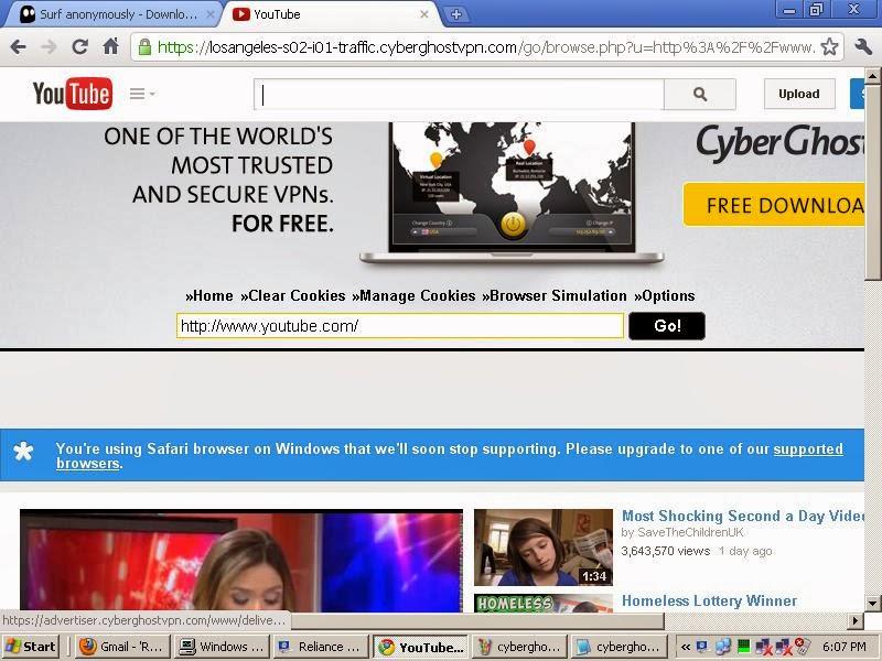 CyberGhostVPN Youtube Watcher - How To Open Youtube/Facebook