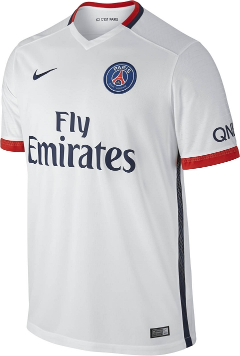 A navy stripe runs down each side and under the sleeves of the new PSG  2015-16 Away Jersey 637d85b509031