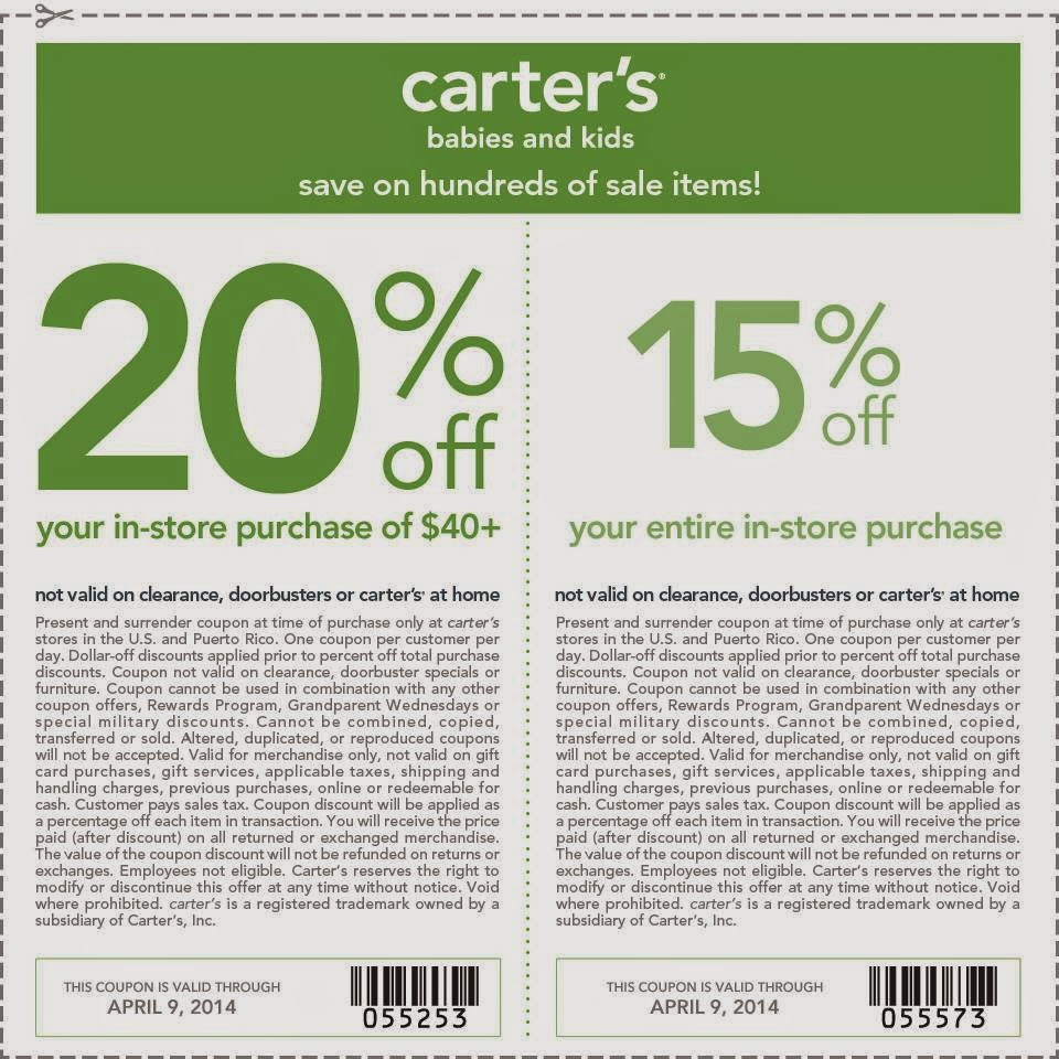 20% Off Carters Coupon. Want coupons delivered straight to your inbox? Carter's sends out their big online promo codes and in-store coupons for 15–20% off a few times a month and you can get them delivered straight to your inbox.5/5(9).