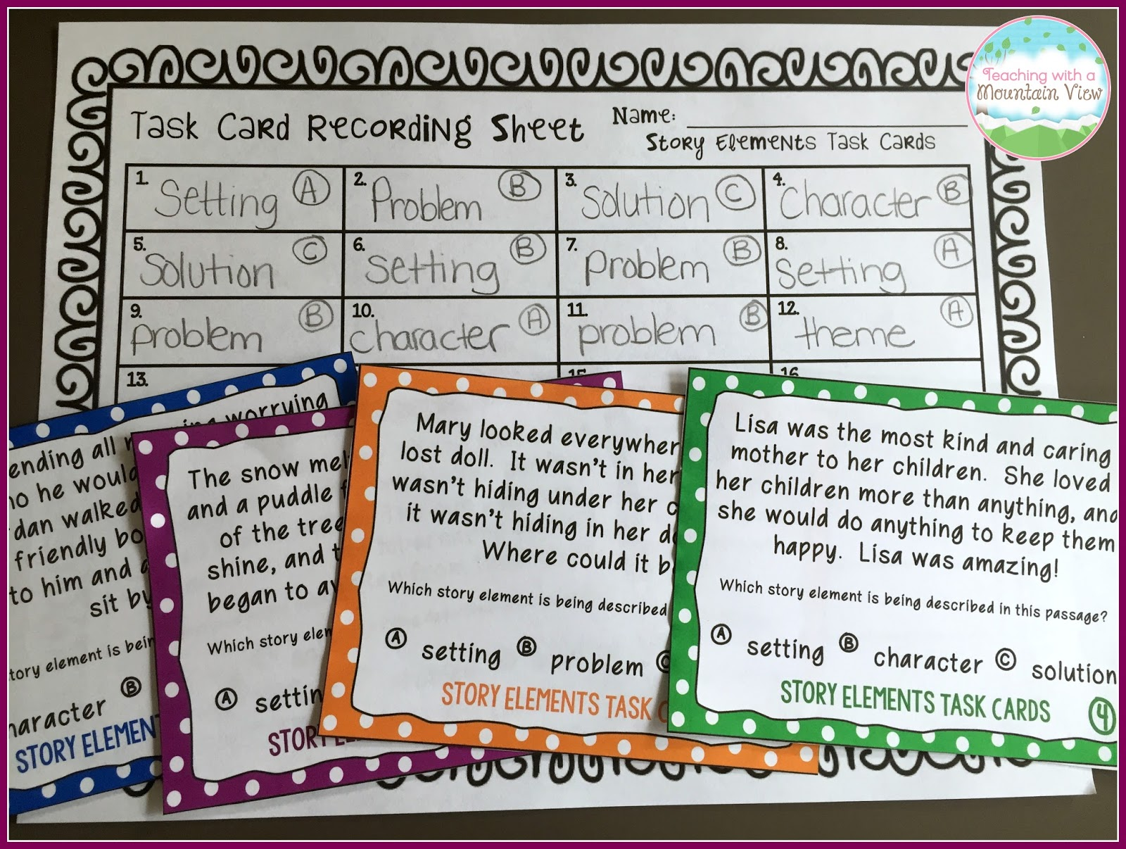 Teaching With a Mountain View: Teaching Story Elements & A