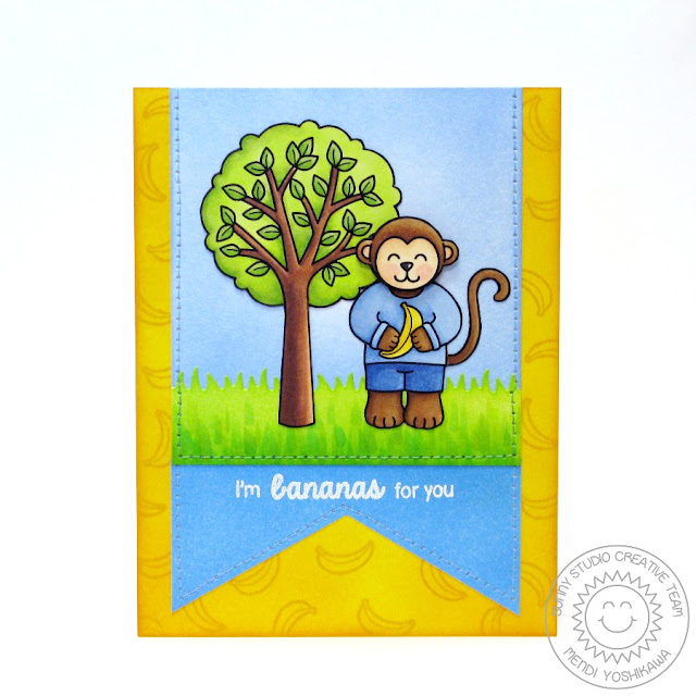 Sunny Studio Stamps Comfy Creatures & Summer Picnic Bananas For You Card by Mendi Yoshikawa