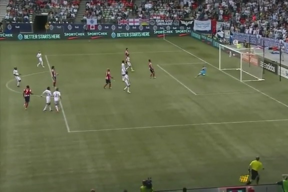 Chivas USA player Tristan Bowen scores the opening goal of the game against Vancouver Whitecaps