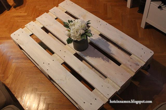 Palet mesa pintada de blanco