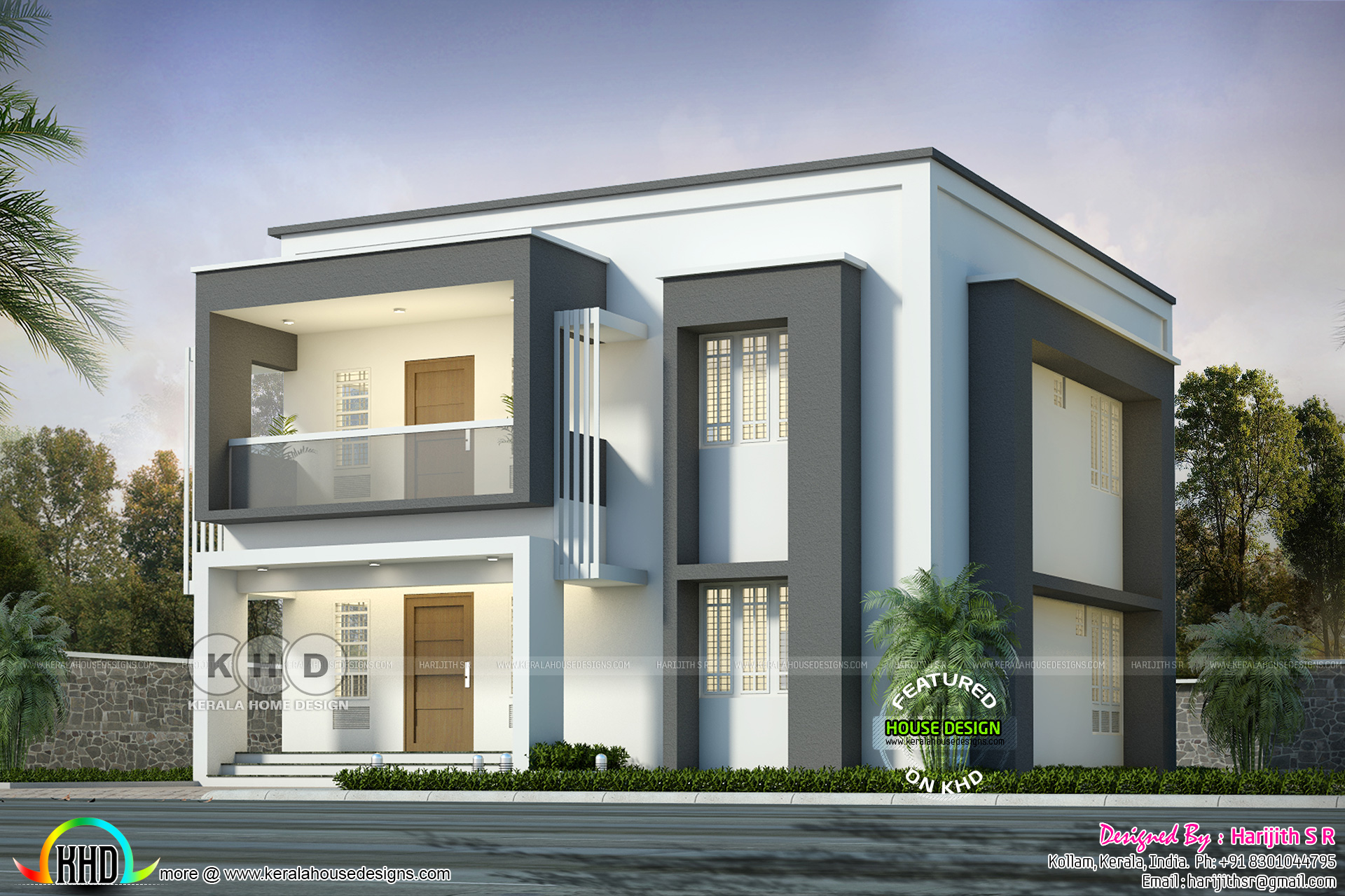 4 bedroom flat roof house in two different paintings ... on kerala home stair, kerala home style, kerala home doors, kerala home paint, kerala home interiors, kerala home kitchen, kerala home renovation,