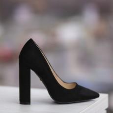 Pantofi cu toc inalt gros din piele intoarsa negrii