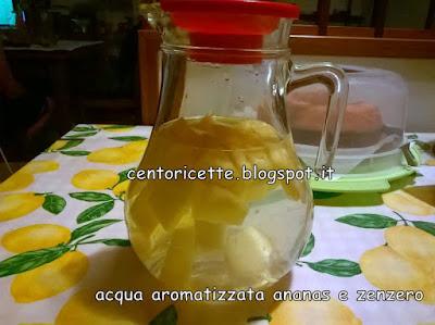 Acqua aromatizzata all'ananas e zenzero