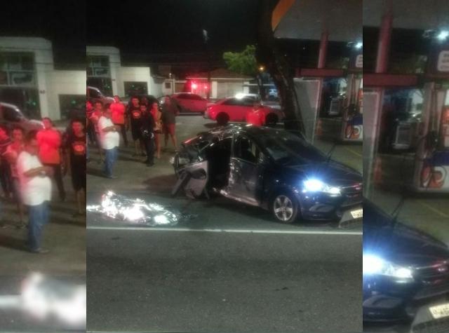 Mulher morre e três ficam feridas após carro bater em poste e capotar, na PB