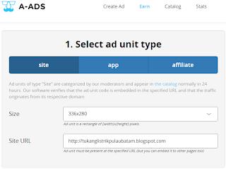 Langkah 3 Cara Daftar A-ads