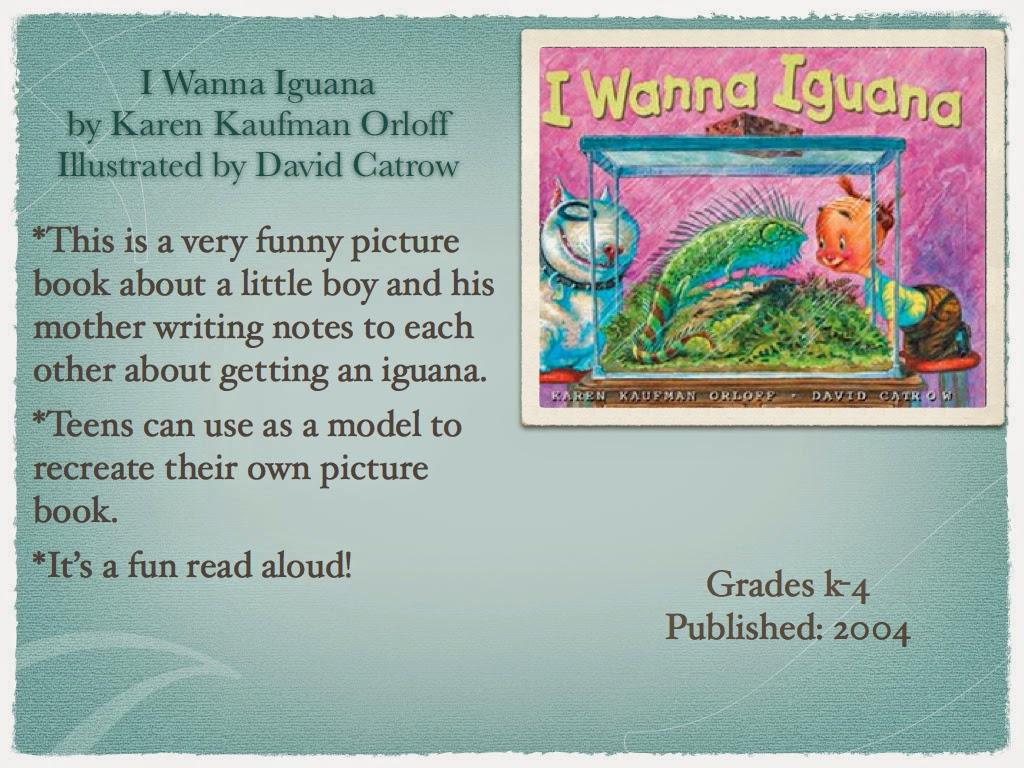 Young Adult Reading Machine I Wanna Iguana By Karen