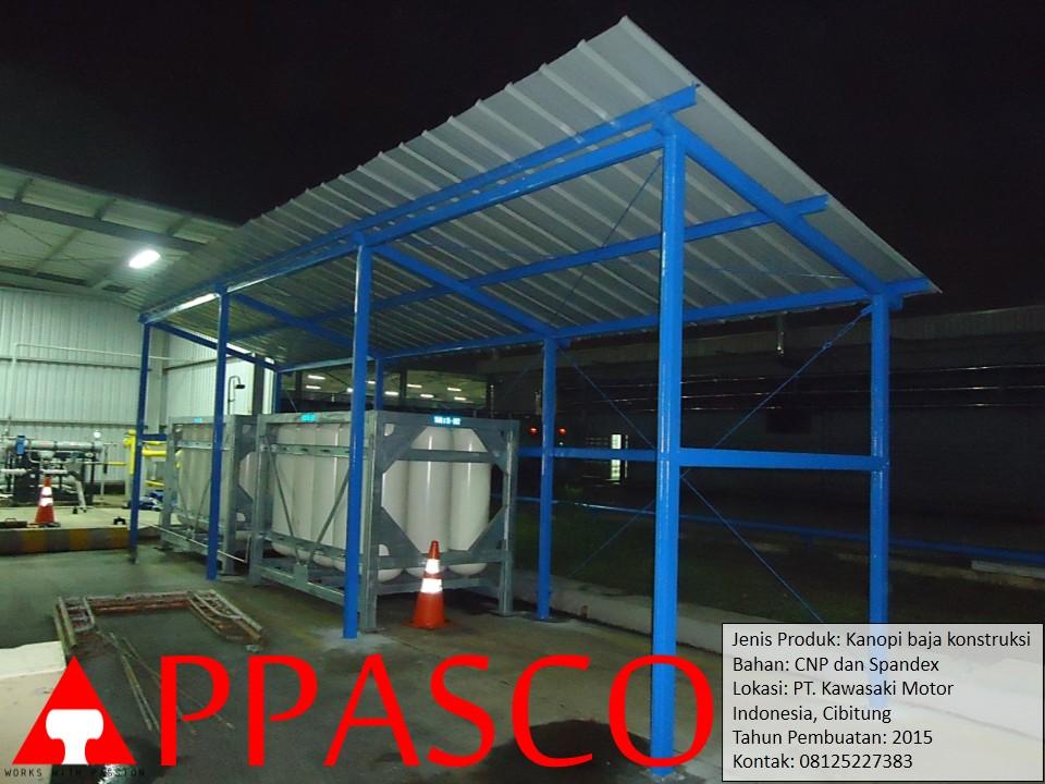 Kanopi Baja Konstruksi Spandex CNP di Kawasaki Motor