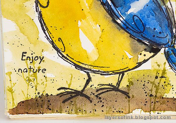 Layers of ink - DIY Watercolor Birds Pen Holder by Anna-Karin Evaldsson.