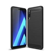 Carbon Fiber Texture Brushed TPU Mobile Phone Case for Samsung Galaxy A7 (2018) - Black
