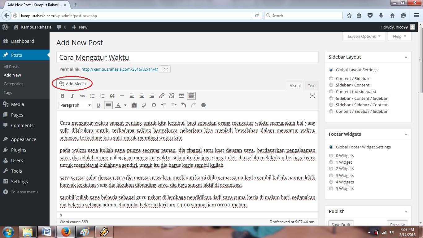 tutorial, cara, menambah, gambar, artikel, postingan, belajar, blog