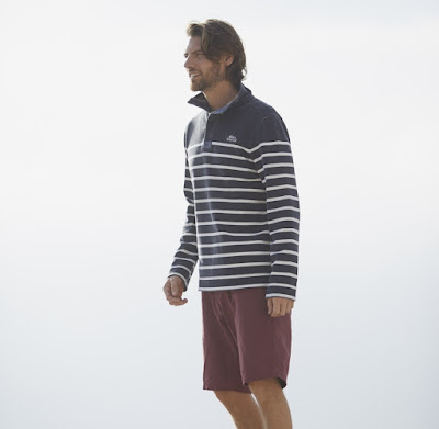 Weird Fish Nairn 1/4 Zip Striped Sweatshirt