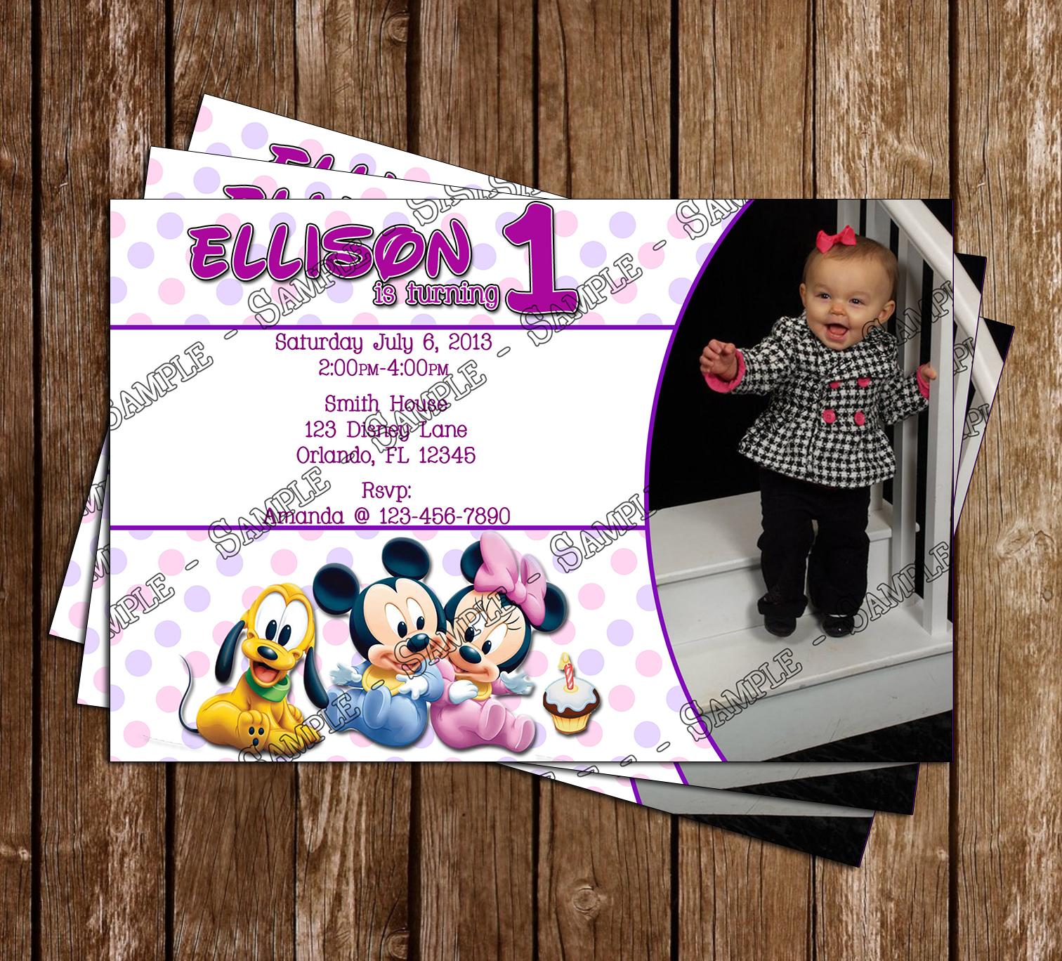 Disney Baby Mickey 1st Birthday Invitation And Thank You Card July 07 2013