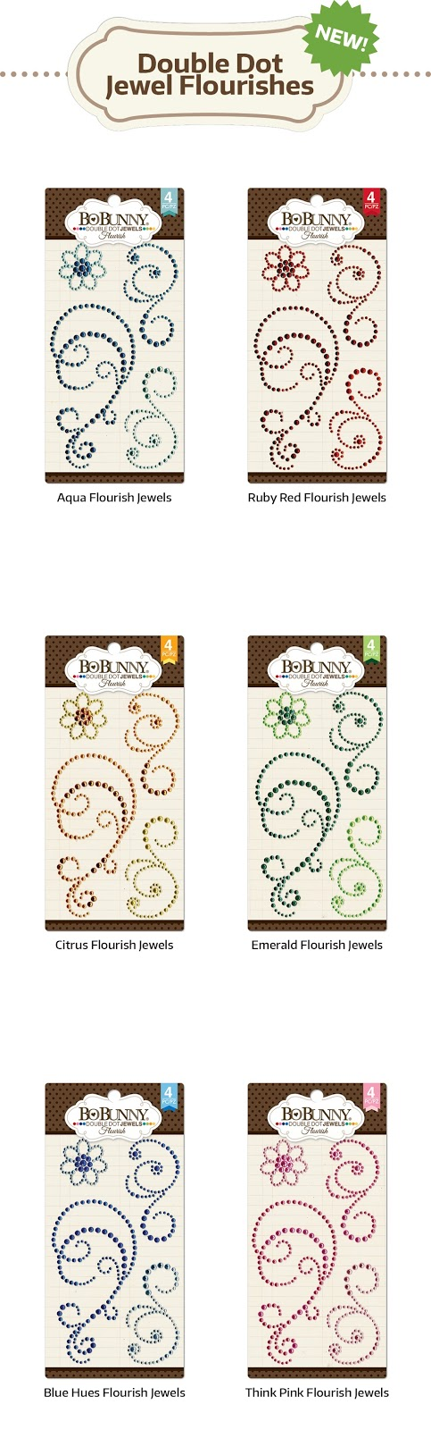 Bling Flourish Jewels Citrus NEW Double Dot Designs Collection BoBunny