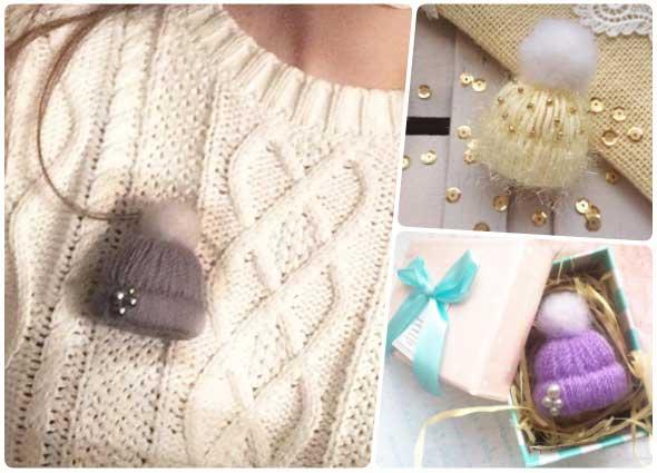 gorro, sombrero, broche, no tejido, lana, miniatura