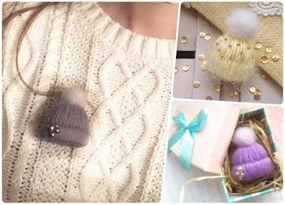 Broche gorro sombrero de lana no tejido en miniatura