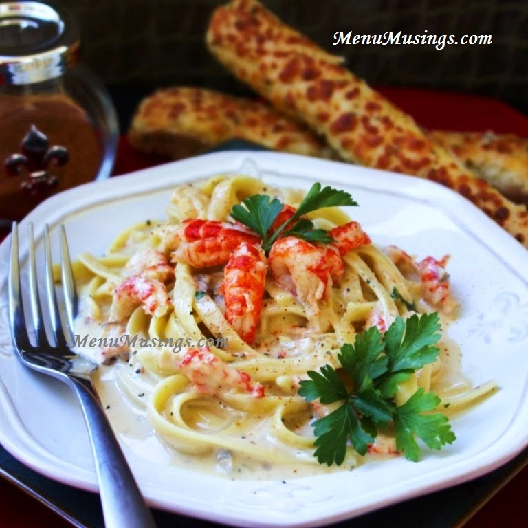 Crawfish Fettuccine @ menumusings.com