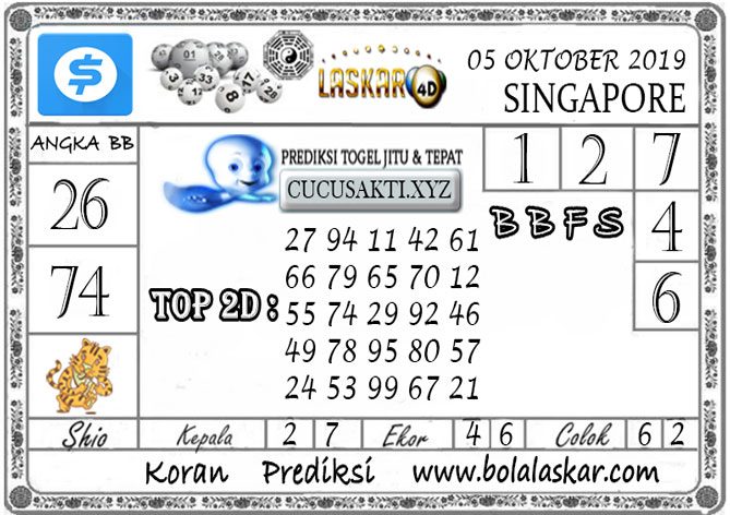 Prediksi Togel SINGAPORE LASKAR4D 05 OKTOBER 2019