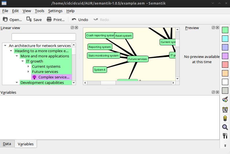 Semantik - mindmapping-like tool for document generation