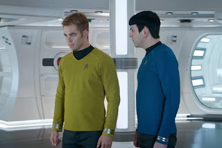 Chris Pine as Kirk and Zachary Quinto as Spock in Star Trek Into Darkness, Directed by J. J. Abrams