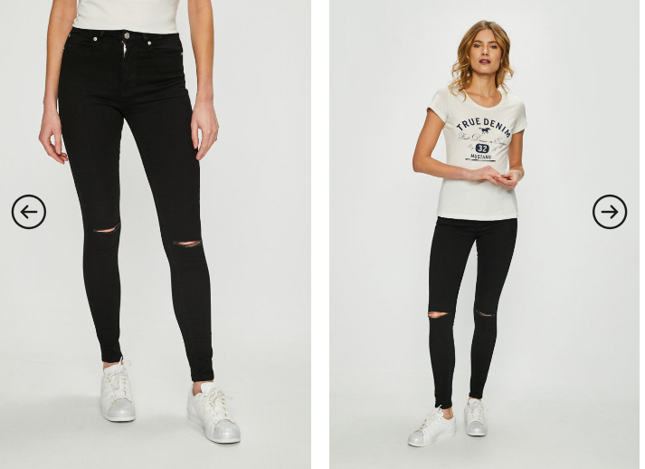 Tally Weijl - Jeans dama negri slim cu rupturi in genunchi