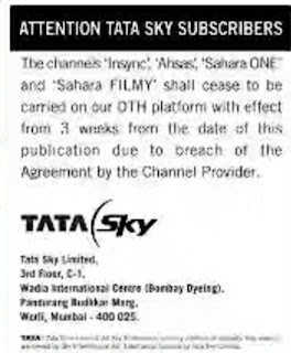 TATA Sky going to remove Four TV Channels from its