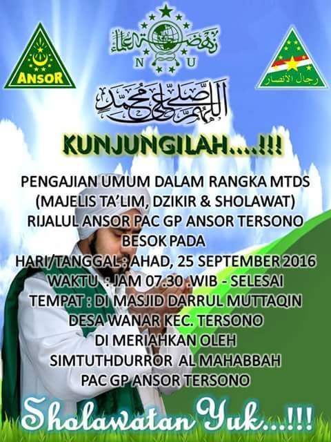 Event Batang | 25 September 2016 | Rijalul Ansor PAC GP Ansor Tersono | Pengajian umum Majelis Ta'lim dan Sholawat