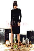 Rochie midi neagra din catifea cu spatele gol