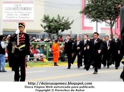 Foto de la IEP Liceo Santo Domingo (Comas - Lima) en Desfile de Parada Militar. Foto tomada por Jesus Gómez