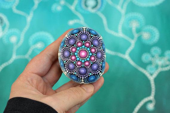 Mandala Stone - Hand Painted
