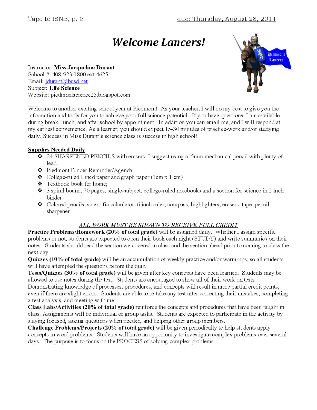 week 1 26 29 2014 miss durant s science class write rough draft of essay 1 write rough draft of i am poem paginate your isnb up to page 140 multiple intelligence survey given summary template