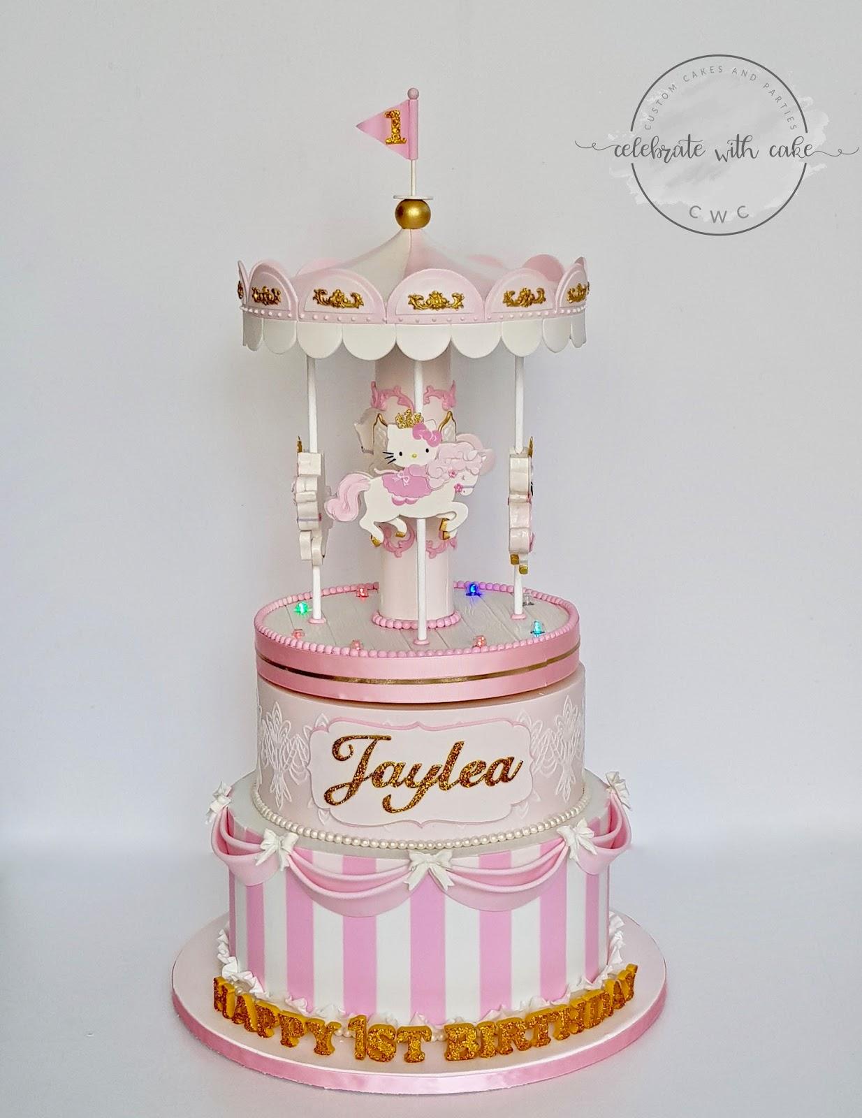 Celebrate With Cake Hello Kitty Rotating Carousel 1st Birthday