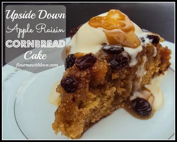 Upside Down Apple Raisin Cornbread Cake; flourmewithlove.com