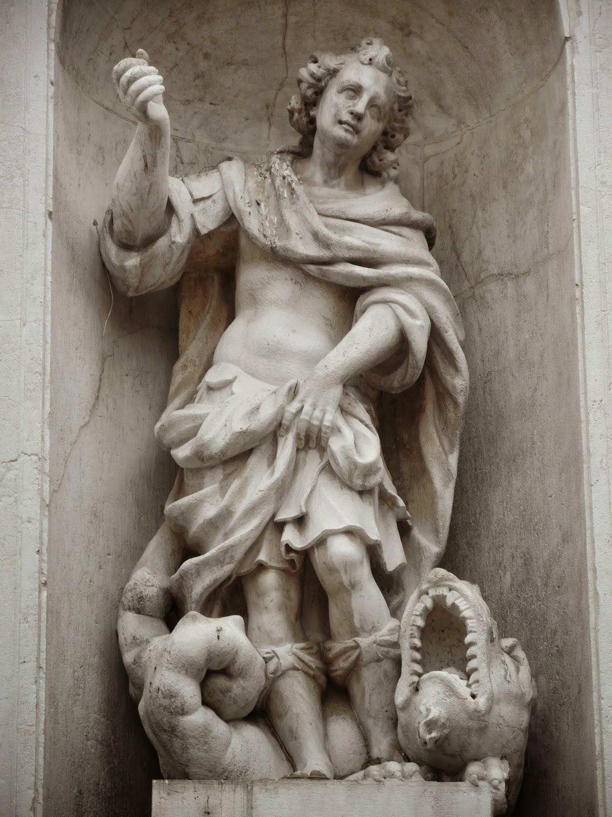 A statue of San Teodoro, the church of San Tomà, Venice