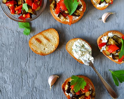 Eggplant and Mint Bruschetta